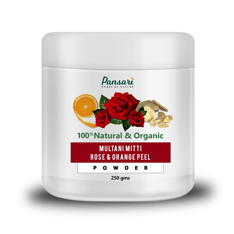 Multani Mitti, Rose & Orange Peel Powder